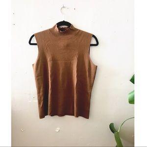 Brown knit turtleneck tank